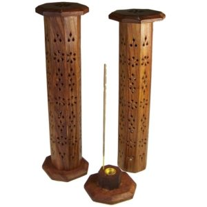 Wood Incense Holder Vertical Tower