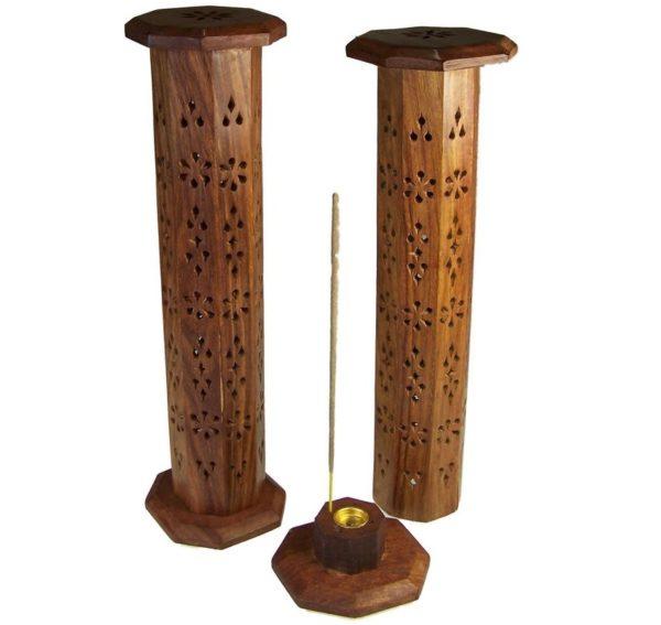 Wood Incense Holder Vertical Tower