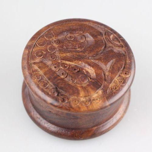 OM wooden herb grinder