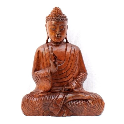 Carved Wooden Meditation Buddha