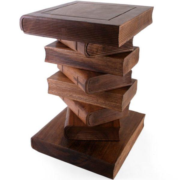 Books wood table